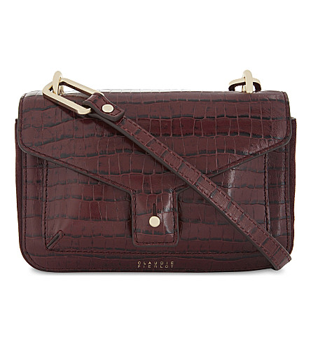 CLAUDIE PIERLOT Sac crocodile-embossed leather cross-body bag (Bordeaux