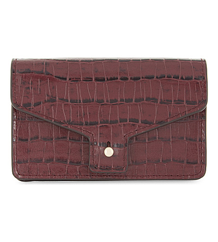 CLAUDIE PIERLOT Maroquinerie leather card holder (Bordeaux