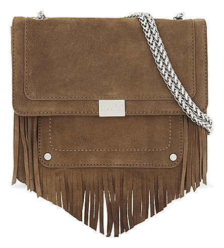 CLAUDIE PIERLOT Angela suede cross-body bag (Walnut