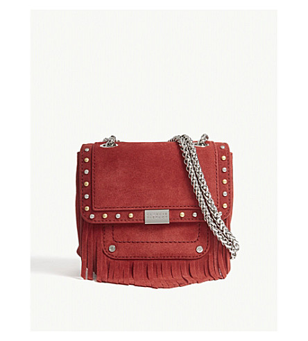 CLAUDIE PIERLOT Angela suede cross-body bag (Red