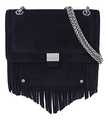 CLAUDIE PIERLOT Angela suede shoulder bag (Marine