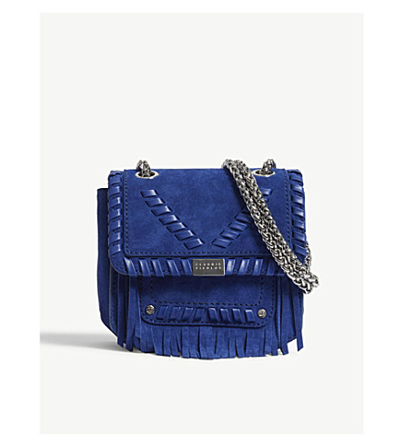 CLAUDIE PIERLOT Angela small suede cross-body bag (Blue