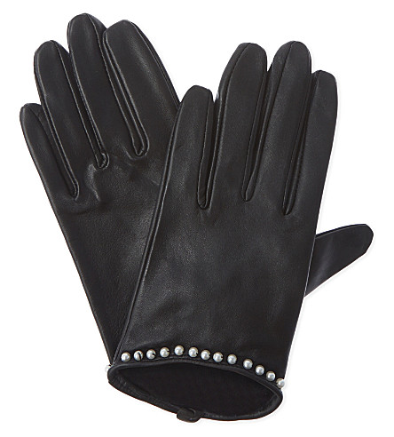 CLAUDIE PIERLOT Apearl lambskin gloves (Noir