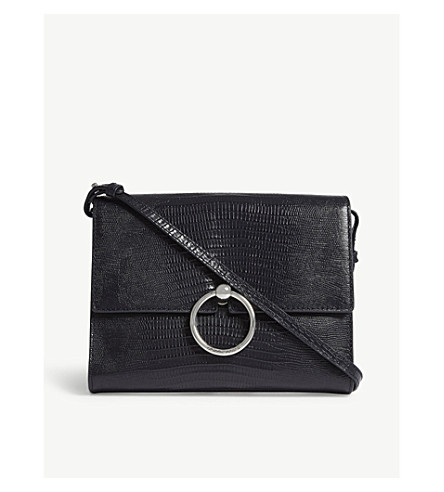 CLAUDIE PIERLOT Anouck leather reptile-effect cross-body bag (Navy