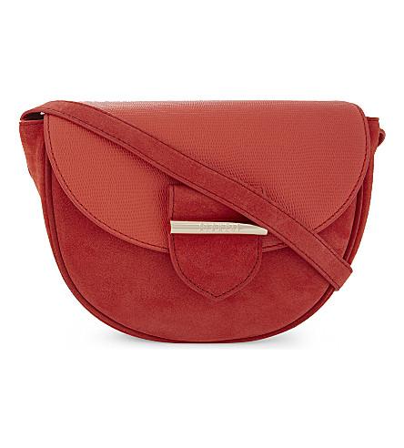 CLAUDIE PIERLOT Asphalte suede and leather cross-body bag (Orange