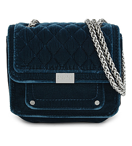 CLAUDIE PIERLOT Angela velvet shoulder bag (Petrol