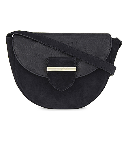 CLAUDIE PIERLOT Asphalte suede and leather cross-body bag (Navy
