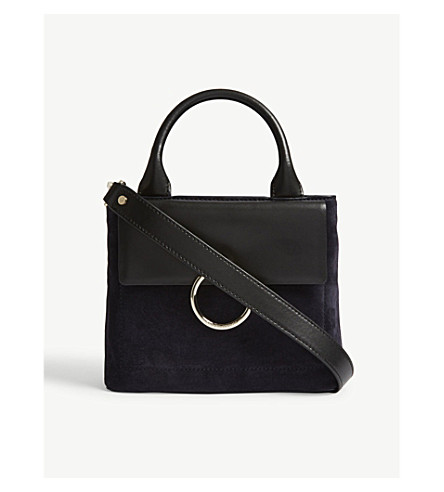 CLAUDIE PIERLOT Anouck leather and suede shoulder bag (Black