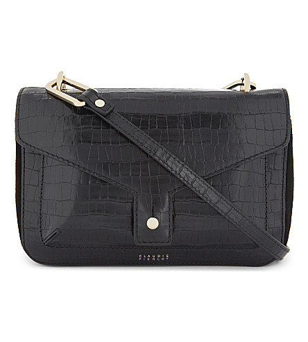 CLAUDIE PIERLOT Sac crocodile-embossed leather cross-body bag (Noir