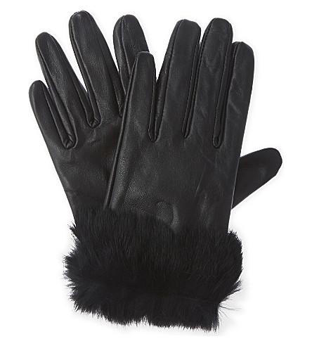 CLAUDIE PIERLOT Faux-fur cuff gloves (Noir