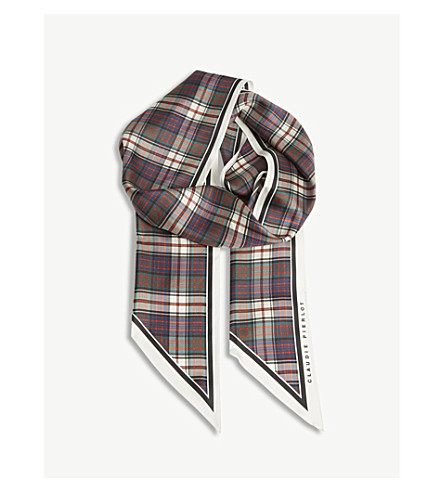 CLAUDIE PIERLOT Alberto check print silk scarf (Rouge