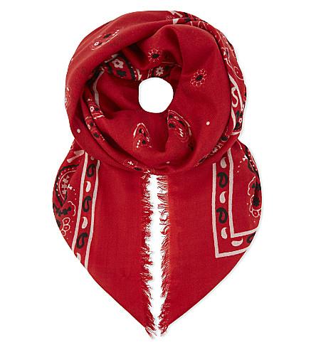 CLAUDIE PIERLOT Abandana paisley wool scarf (Ecarlate