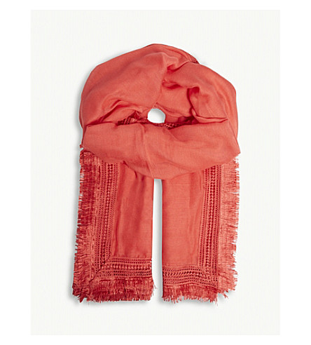 CLAUDIE PIERLOT Lace embroidered scarf (Coral