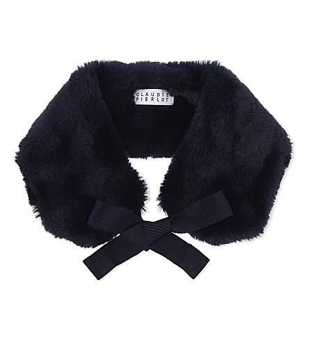 CLAUDIE PIERLOT Acolie Bis faux-fur collar (Marine