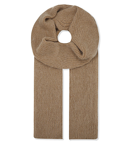 CLAUDIE PIERLOT Adouce knitted wool-blend scarf (Camel