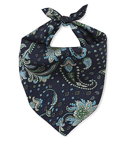 CLAUDIE PIERLOT Acores paisley silk scarf (Marine