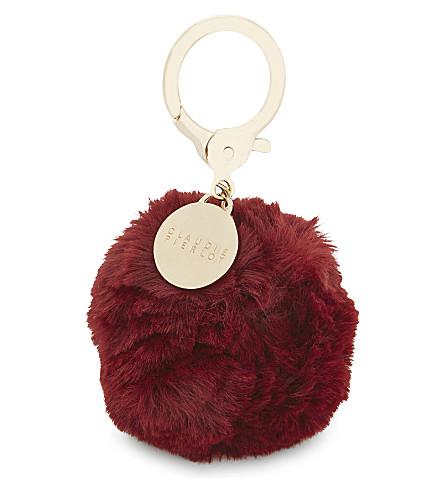CLAUDIE PIERLOT Faux-fur pom-pom bag charm (Bordeaux