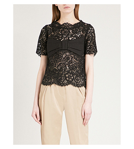 CLAUDIE PIERLOT Floral-lace top (Black