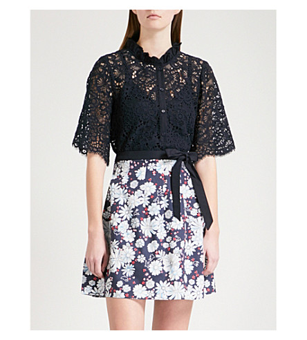 CLAUDIE PIERLOT Ruffled floral-lace shirt (Blue