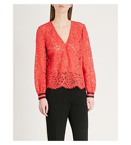 CLAUDIE PIERLOT V-neck floral-lace top (Coral