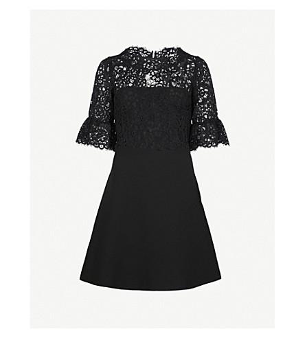 CLAUDIE PIERLOT Lace-panel crepe mini dress (Black