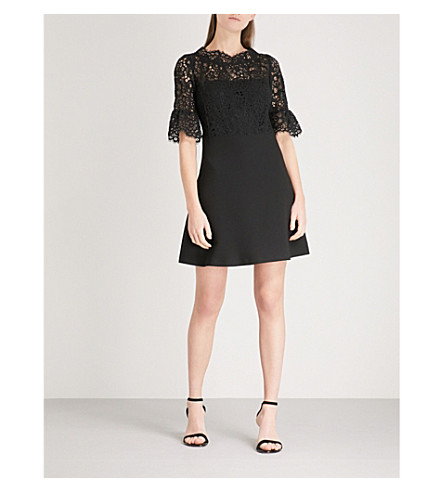 CLAUDIE PIERLOT Lace-panel crepe mini dress (Black