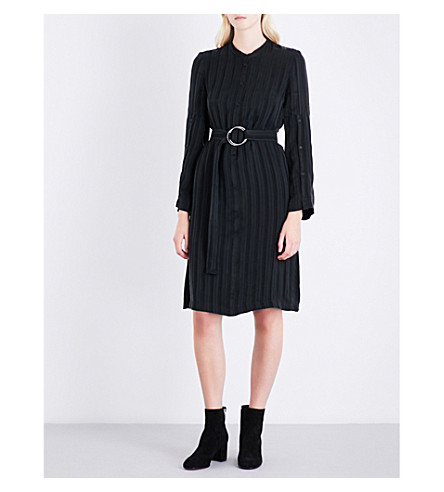 CLAUDIE PIERLOT Striped self-tie satin dress (Noir