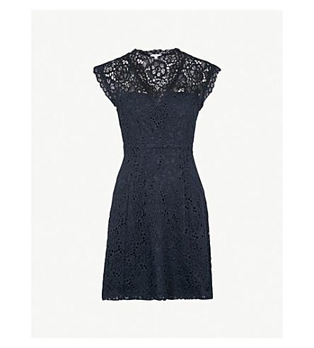 CLAUDIE PIERLOT V-neck floral-lace dress (Blue