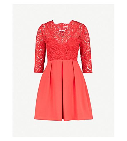 CLAUDIE PIERLOT Lace-panel crepe mini dress (Coral