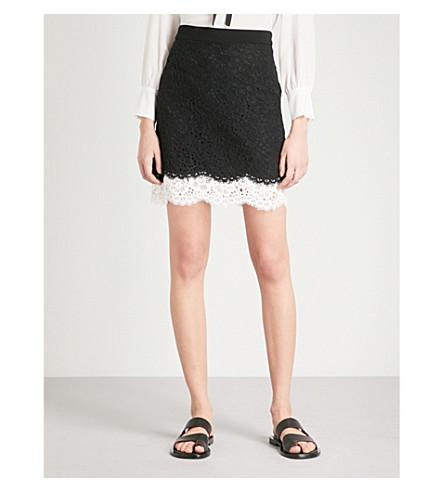 CLAUDIE PIERLOT Floral-lace mini skirt (Black