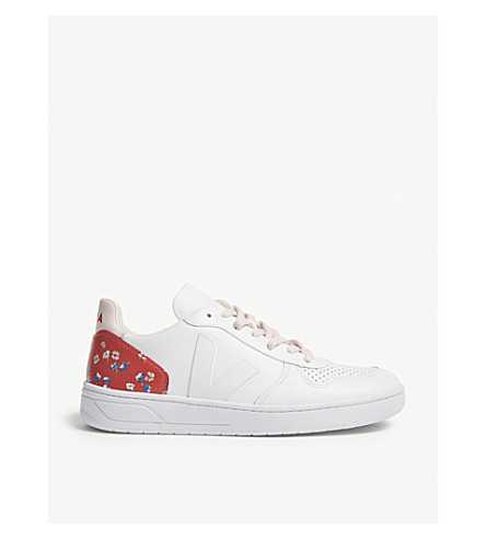 CLAUDIE PIERLOT Veja floral-print leather trainers (Red