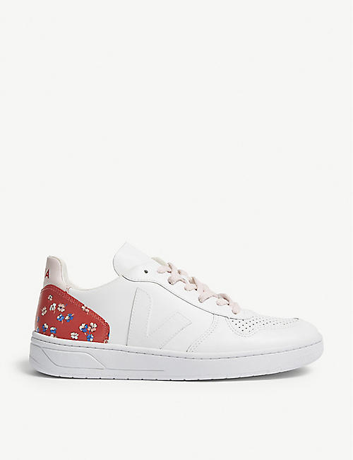 Claudie Pierlot Woman Floral-print Leather -trimmed Suede Sneakers Blush Size 39 Pay With Visa Sale Online Very Cheap Finishline Sale Online 6OAydpu