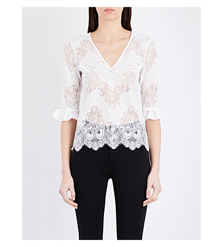 CLAUDIE PIERLOT Floral lace top (Ecru