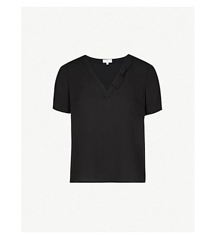 CLAUDIE PIERLOT Bowling bow-detail crepe top (Black