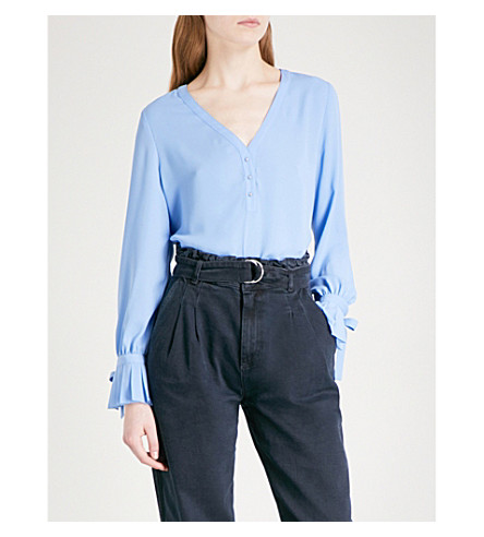 CLAUDIE PIERLOT Pleated-cuff crepe blouse (Bleu