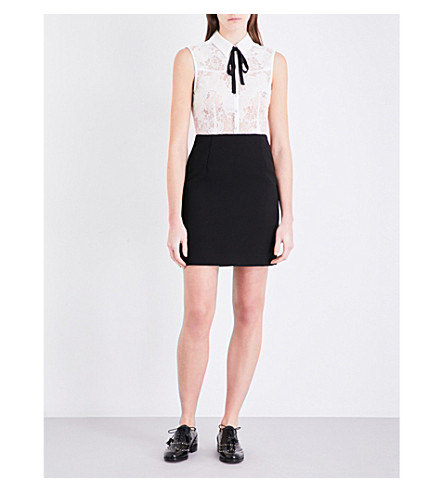 CLAUDIE PIERLOT Recreation lace and crepe dress (Ecru