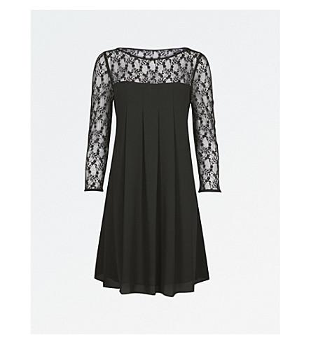 CLAUDIE PIERLOT Floral-lace and chiffon mini dress (Noir