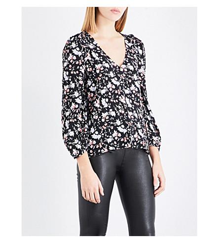 CLAUDIE PIERLOT Floral-print crepe top (Noir