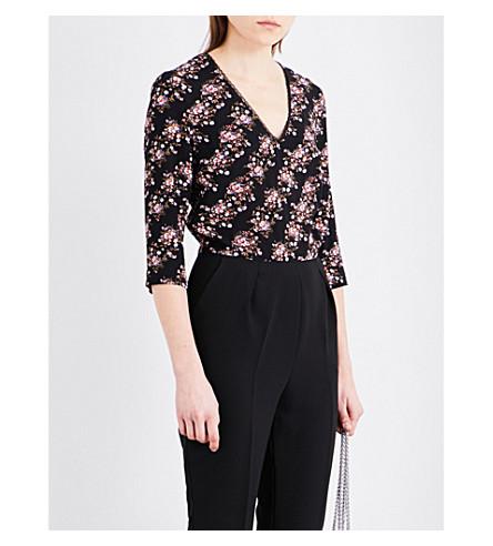 CLAUDIE PIERLOT Janelle floral crepe jumpsuit (Noir
