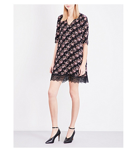 CLAUDIE PIERLOT Real floral-print crepe mini dress (Noir