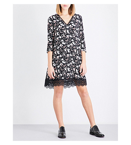 CLAUDIE PIERLOT Floral-print lace-hem crepe mini dress (Noir