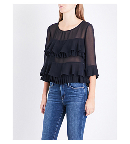 CLAUDIE PIERLOT Pleated chiffon top (Marine