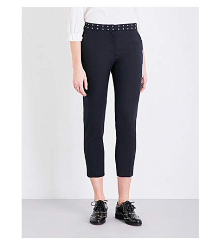 CLAUDIE PIERLOT Pacific cropped woven trousers (Marine