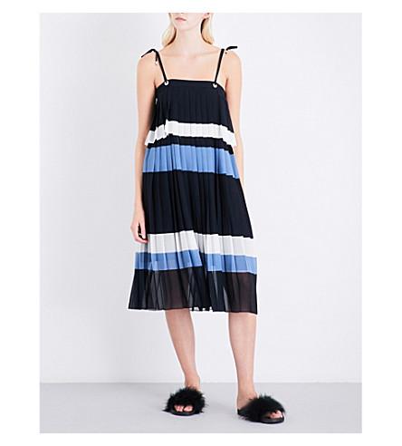 CLAUDIE PIERLOT Contrast-stripe pleated chiffon dress (Marine
