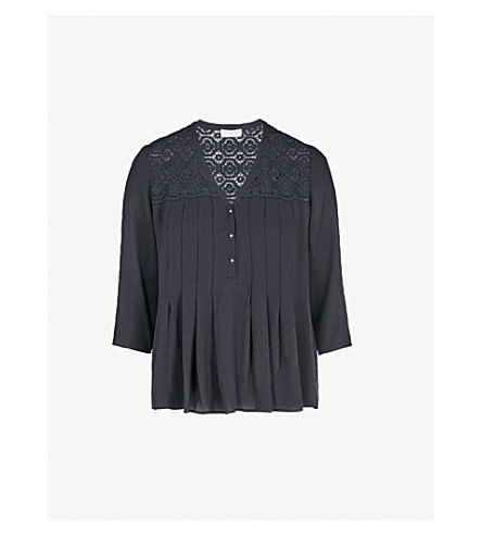 CLAUDIE PIERLOT Lace-embroidered crepe top (Navy