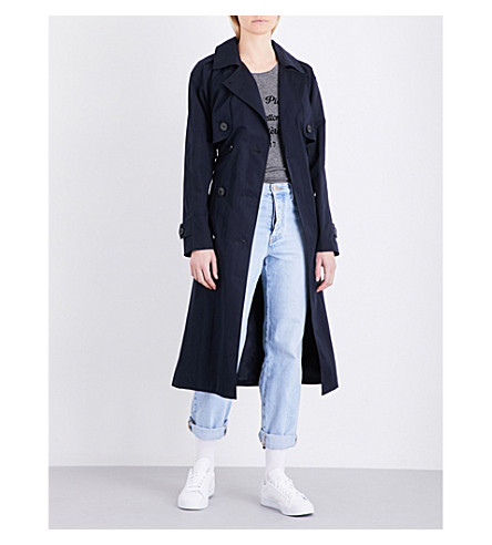 CLAUDIE PIERLOT Gabin cotton-blend trench coat (Marine