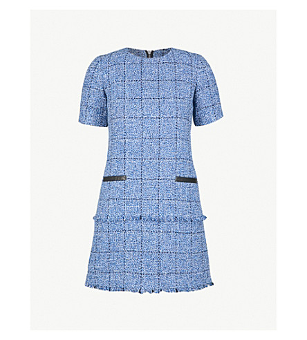 CLAUDIE PIERLOT Raff leather-trimmed tweed dress (Blue