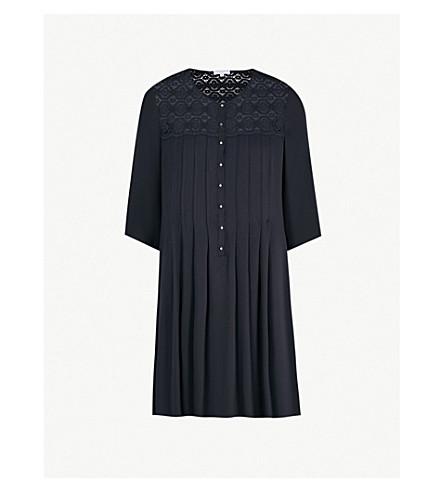 CLAUDIE PIERLOT Rosie pleated woven dress (Navy
