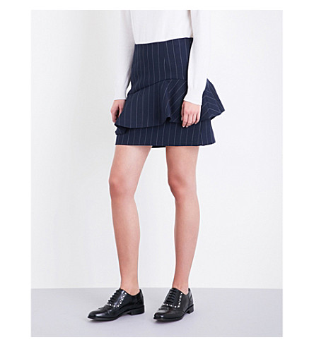 CLAUDIE PIERLOT Pinstriped high-rise gabardine skirt (Marine