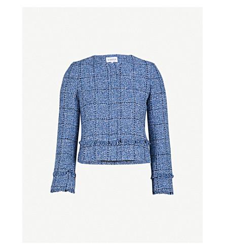 CLAUDIE PIERLOT Frayed tweed cropped jacket (Blue